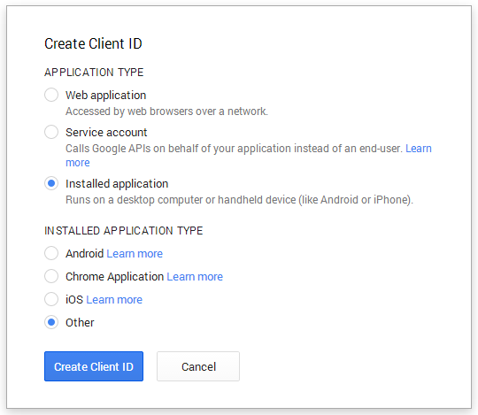 Create a new Client ID