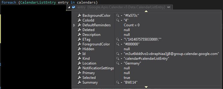 CalendarListEntry expanded
